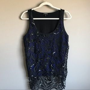 EXPRESS Black Crocheted Lace Overlay Tank